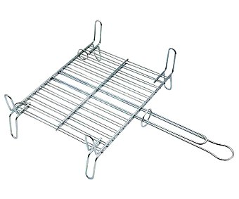 Tresdogar Parrilla doble de acero cromado para barbacoas, medidas de 40x45 centímetros 1 unidad