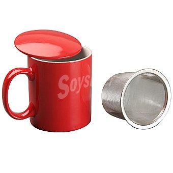QUO Desayuno Taza de infusión con filtro en color rojo 350 ml