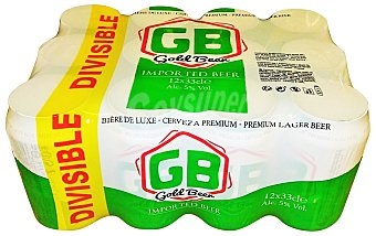 G.B. Cerveza rubia suave 12 latas de 33 cl