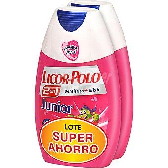 Licor del polo Dentífrico con elixir 2 en 1 Junior lote súper ahorro Pack 2 tubo 75 ml