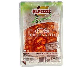 ElPozo Chorizo artesano extra en lonchas finas al natural Envase 80 g