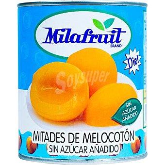 Milafruit Melocotón en almíbar sin azúcar añadido lata 480 g neto escurrido