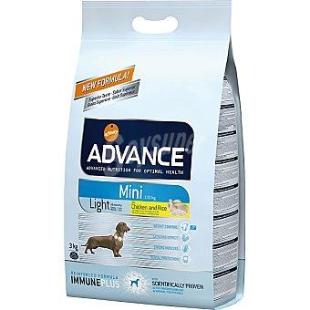 Advance Affinity Alimento de alta gama para perros de raza pequeña con sobrepeso con pollo y arroz Mini Light Bolsa 3 kg