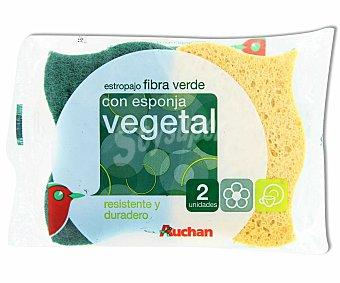 Auchan Estropajo Fibra Verde Vegetal 1 Unidad