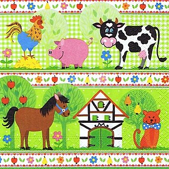 Papstar Servilletas decorado infantil de animales de granja 3 capas 33X33 cm Paquete 20 unidades
