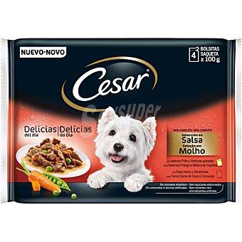 Cesar Alimento para perros selección en salsa de carnes y verduras 4 bolsas x 100 g