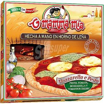 O MAMMA MIA Pizza mozzarella al pesto tomate y tomatitos cherry Estuche 385 g
