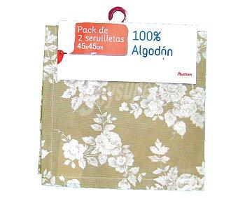 Auchan Pack de 2 servilletas de algodón, estampado floral color beige, 45x45 centímetros 2u