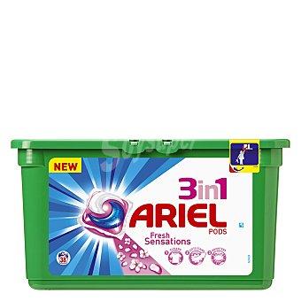 Ariel Detergente máquina líquido Sensaciones 3 en 1 Pods ápsulas Envase 38 c