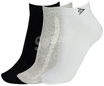 Dunlop Pack de 3 pares de calcetines Performance, color blanco/gris/negro, talla 43/46 color blanco/gris/negro, talla 43/46