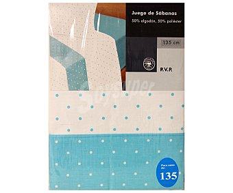 Auchan Juego de sábanas estampado lunares, color azul celeste para cama de 135 centímetros 1 Unidad