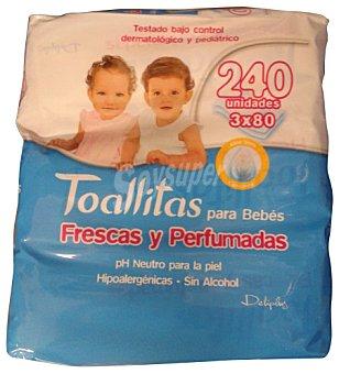 Deliplus Toallitas húmedas bebé frescas y perfumadas Pack 3 unidades x 80 toallitas