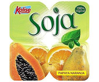 Kalise Soja, yogur de soja sabor naranja y papaya sin lactosa Pack 4x125 grs