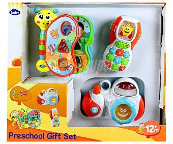 Baby Set de tres juguetes; Cámara, Teléfono y Libro interactivos, con luces y Sonidos 1 Unidad