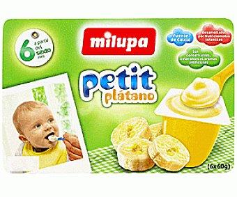 Milupa Petit de Plátano 6 Unidades de 60 gramos