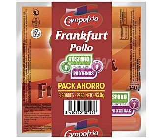 Campofrío Salchicha Frankfurt de Pollo 3 Sobres de 140 Gramos