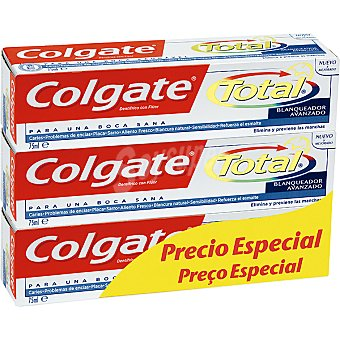 Colgate Total Pasta dentífrica Blanqueador Pack 3 tubo 75 ml