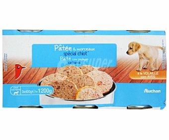 Auchan Comida Húmeda para Cachorros de Perro. Paté con Aves Pack de 3x400g