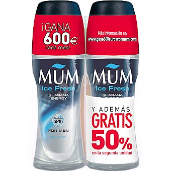 Mum Desodorante roll on For Men Ice Fresh pack 2 envase 50 ml ( pack especial 2ª unidad al 50% ) Pack 2 envase 50 ml