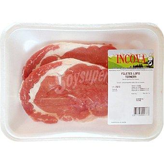 Incova Ternera filetes de lomo alto y bajo peso aproximado Bandeja 400 g