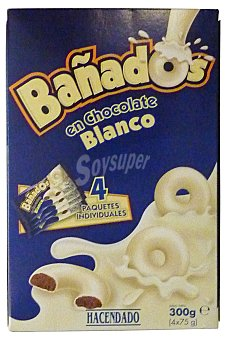 Hacendado Galleta cubierta chocolate blanco Pack de 4 u, 300 g