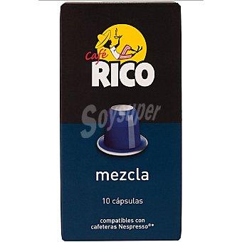 Rico Cafe molido mezcla 80/20 10 capsulas compatibles con maquinas Nespresso envase 50 g 10 capsulas