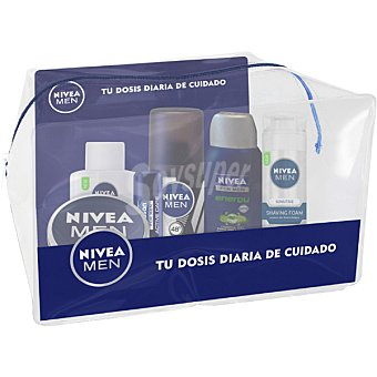 NIVEA FOR MEN Pack viaje con espuma sensitive + after shave frasco 30 ml + crema cuerpo tarro 30 ml + gel de baño energy frasco 50 ml + desodorante spray 35 ml + liposan 1 pack