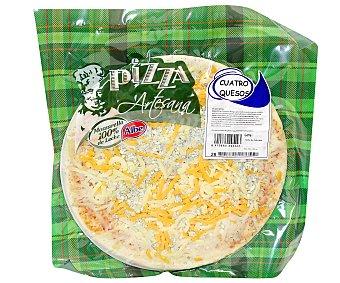 ALBE Pizza artesana de cuatro quesos (mozzarella, queso azul, queso cheddar y edam) 570 gramos