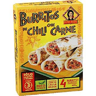 DOÑA LUPE Tex Mex Burritos de chili con carne estuche 425 g 4 unidades