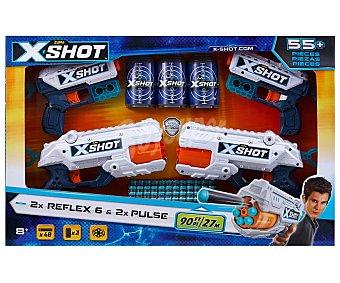 XSHOT Reflex Revolver Set de juego con 4 pistolas lanzadoras, 30 dardos y 4 latas-blanco xshot