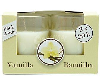 Ambient Air Velas de color blanco en vasos de cristal perfumadas con olor a vainilla  1 ud