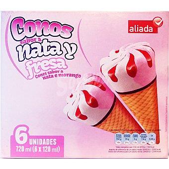 Aliada Cono helado sabor nata y fresa 6 unidades estuche 720 ml 6 unidades