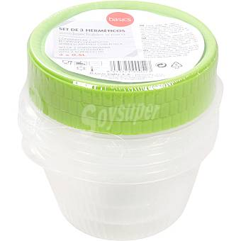 BASIC Recipiente hermético 0,5L redondo tapón rosca colores surtidos envase 3 unidades 1u