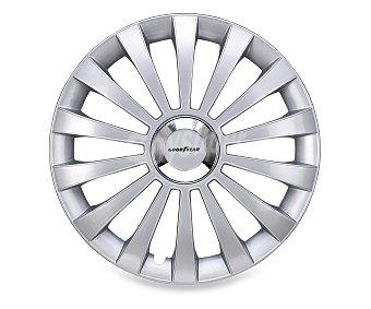 """GOODYEAR Juego de 4 tapacubos modelo Flexo para ruedas de 14"""", de color plata y diseño robusto y plano con aspecto de llanta de aleación 1 unidad"""