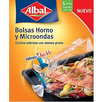 Albal Bolsas para cocinar en horno y microondas grandes válvula Optivit Caja 5 unidades