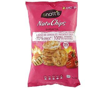 SNATT'S Snack a base de cereales, patatas y soja con sabor a barbacoa Natuchips 85 gramos