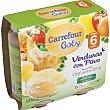 Tarrito de verduras con pavo Pack de 2x250 g Carrefour Baby