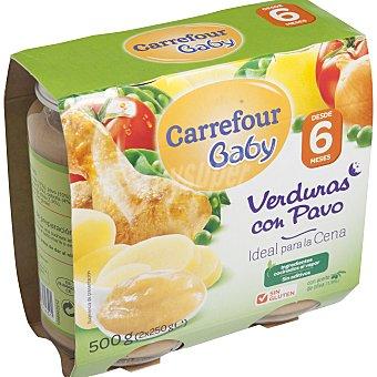 Carrefour Baby Tarrito de verduras con pavo Pack de 2x250 g