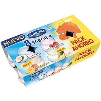 Danone Yogur sabores 2 coco, 2 fresa, 2 mango, 2 piña Pack 8 x 125 g - 1 kg