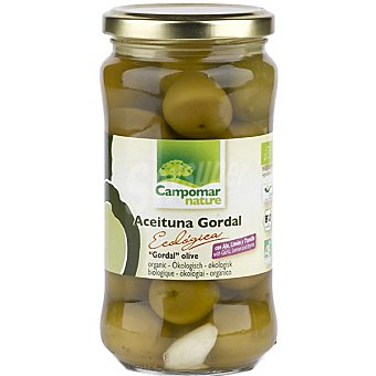 CAMPOMAR NATURE Aceituna gordal ecologica con ajo lima y tomillo  frasco 200 g neto escurrido
