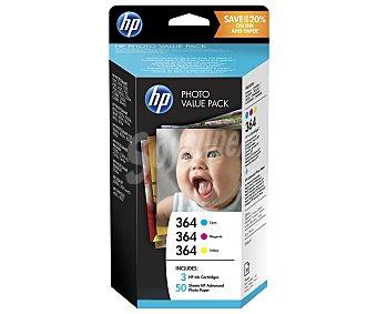 HP Cartuchos de tinta 364, cian, magenta y amarillo, compatible con impresoras: deskjet 3070A, officejet 4620 / photosmart 2011 wiife, photosmart 5510 / 5515 / 6510 / 7510 / B109 / B109D / B110 / B207 / B209 / C310D / C5300 series / C5324 / C5380 / C5390 / C6300 series