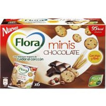 Flora Galletas mini cookies con chocolate Bolsa 120 g