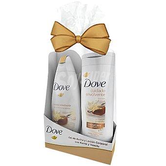 Dove pack Karité con gel de ducha nutritivo cuidado envolvente + loción corporal nutritiva frasco 250 ml