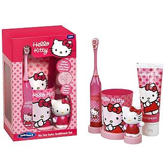 Hello Kitty Estuche con cepillo de dientes + pasta de dientes + vaso