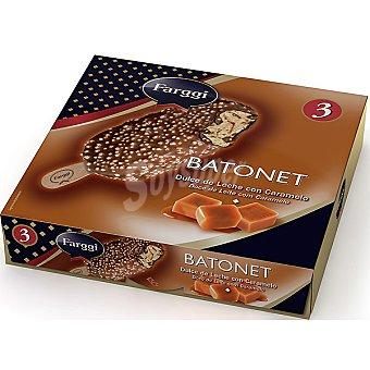 FARGGI Batonet Helados dulce de leche con caramelo estuche 270 ml 3 unidades