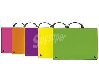 Grafoplás Maletín A4 con tapas de polipropileno colores fluorescentes, tamaño folio grafoplas
