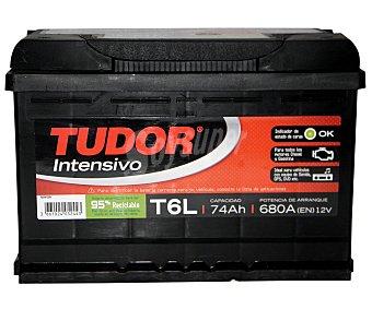 TUDOR Batería de arranque T6L 12 Voltios 74Ah, potencia de arranque: 680 Amperios, medidas: 278x175x190 ml 1 unidad