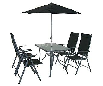 PLOOS Conjunto de muebles para porche modelo Kairo compuesto de: 1 mesa de acero/cristal de 150x90x7 y cristal de 5 milímetros, 4 sillas de acero y textileno, con respaldo ajustable de 76x56x105 centímetros y 1 parasol inclinable de 270 centímetros 1 unidad