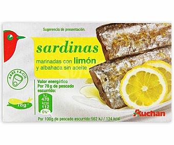 Auchan Sardinas en aceite de girasol al limón Lata de 78 grs