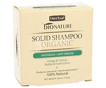 BIONATURE Champú antigrasa en pastilla con ortiga y cítricos 100 gramos